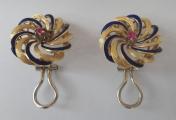 Zlaté náušnice s modrým smaltem a rubínky (2).JPG