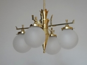 Art Deco chandelier of polished brass