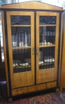 Biedermeier bookcase with black fillings