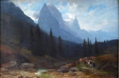 Alpine landscape with young herdsman