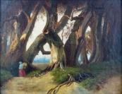 Žena s nůší pod korunami starých dubů