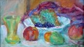 Miloslav Holý - Zátiší s ovocem a sklenicí