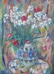 Monogram E. Z. - Narcisy a tulipány ve váze