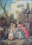 Nicolas Lancret - Dáma podávající dětem čokoládu v zahradě, kopie