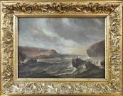 Antonio Marini - Mořské pobřeží s loďkami a postavami