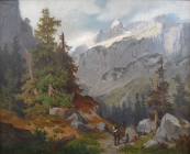 Georg Holub - Alpine landscape with a figure