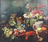 Vladimír Kliment - Zátiší s ovocem, květinou a humrem