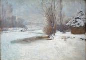 Zimní krajina se seníkem