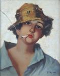 D. T. Meller - Portrét mladíka v klobouku s cigaretou