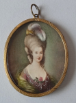 Miniature ladies with feathers - Monogram P. A. H.