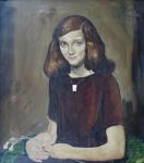 Franz Gruss - Sedící dívka s bílou květinou