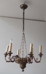 Biedermeierový dřevěný lustr s řetězem