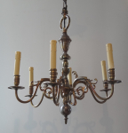 Smaller Dutch-style chandelier with six arms