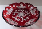 Plochá mísa s rubínovou lazurou - Art deko