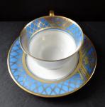 Šálek s modrým pásem a zlaceným mřížovím - Brühwiler