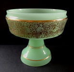 Mísa ze zeleného opálového skla a zlaceným pásem