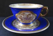Modrý šálek se zlaceným reliéfem - Rosenthal