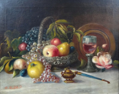 G. Riedler - Zátiší s ovocem, mísou a pohárem