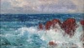 Karel Langer - Mořské vlny s útesy