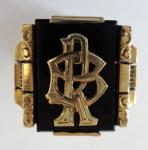 Zlatý prsten s onyxem - monogram R. B.