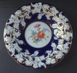Kobaltový zlacený talíř - Míšeň