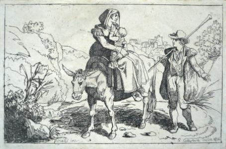 Žena s dítětem na oslu