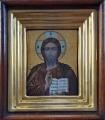 Ikona ve zlaceném rámu a dřevěné skříňce - Rusko (1).JPG