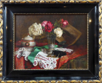 Franz Krischke - Zátiší s růžemi, krajkou a šperkovnicí (1).JPG