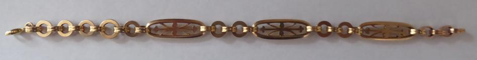 Zlatý náramek s kroužky a ovály - Leopold Gugg, Vídeň (1).JPG
