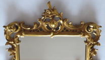 Dřevěné zlacené zrcadlo, s barokní řezbou - Haff & Pisa (2).JPG