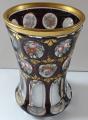 Sklenice ( pohár ) rubínová s malovanými růžemi a květy (2).JPG