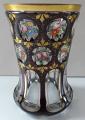 Sklenice ( pohár ) rubínová s malovanými růžemi a květy (1).JPG