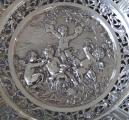 Kulatá velká stříbrná dekorativní mísa - styl Hanau, Německo (3).JPG