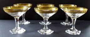 Šest skleniček na šampaňské, zlacené - Moser (1).JPG