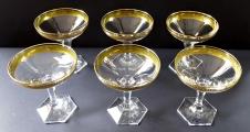 Šest skleniček na šampaňské, zlacené - Moser (2).JPG