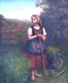 Děvče s kosou, trakařem a lokomotivou v pozadí (2).JPG