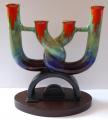 Keramický svícen s barevnou glazurou - Art deko (1).JPG