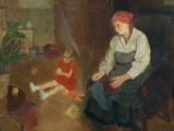 Josef Multrus - Sedící matka s holčičkou ve světnici (3).JPG