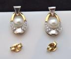 Náušnice bílé a žluté zlato, perly - 0,15 ct brilianty (3).JPG