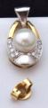 Náušnice bílé a žluté zlato, perly - 0,15 ct brilianty (4).JPG