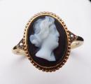 Zlatý prstýnek s kamejí z chalcedonu, říční perličky (1).JPG
