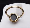 Zlatý prstýnek s kamejí z chalcedonu, říční perličky (4).JPG