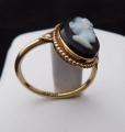 Zlatý prstýnek s kamejí z chalcedonu, říční perličky (5).JPG