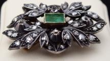 Starožitná brož, závěs, s diamanty a smaragdem 0,75 ct (2).JPG