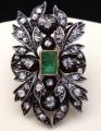 Starožitná brož, závěs, s diamanty a smaragdem 0,75 ct (5).JPG