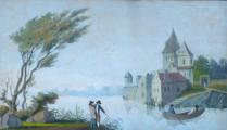 Zámek u jezera, s loďkou a postavami (3).JPG