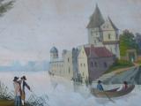 Zámek u jezera, s loďkou a postavami (4).JPG