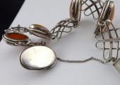 Stříbrný náramek s oválnými žlutými medailony (2).JPG