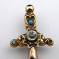Jehlice, kříž, s emailem a kamínky - biedermeier (4).JPG