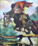 Horse jumping with rider